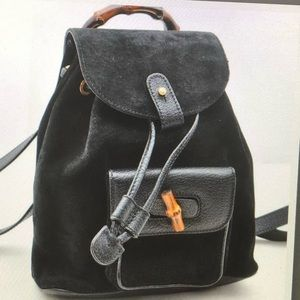 AUTH GUCCI BAMBOO VINTAGE SUEDE LEATHER BACKPACK